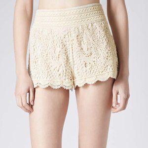 Topshop Crochet Cream Lace Shorts
